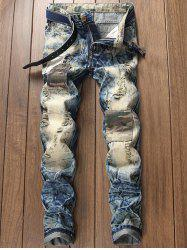 Faded Ripped Camouflage Patch Design Jeans -