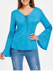 Floral Lace Bell Sleeve Tee -