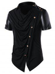 PU Leather Panel Accordion Pleat T-shirt -
