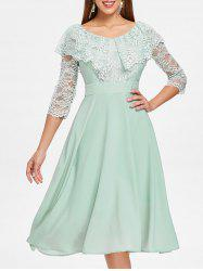 Floral Lace Insert High Waist Dress -