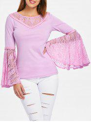 Bell Sleeve Floral Lace T-shirt -
