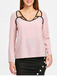 Contrast Hollow Out Blouse -