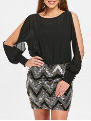 Zigzag Sequins Mini Chiffon Panel Dress -