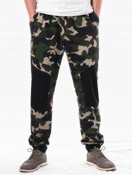 Elastic Waist Camouflage Panel Casual Pants -