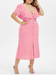 Plus Size Plunging Ruffle Dress -