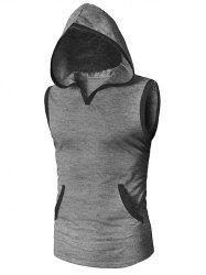 Casual Kangaroo Pocket Hooded Tank Top -