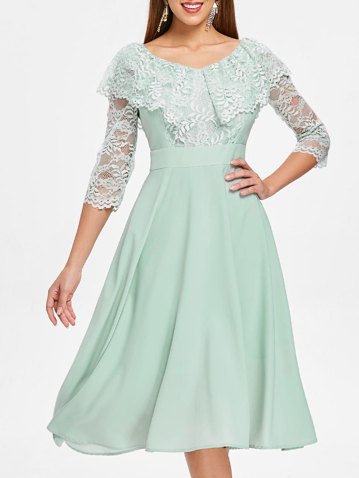 Store Floral Lace Insert High Waist Dress