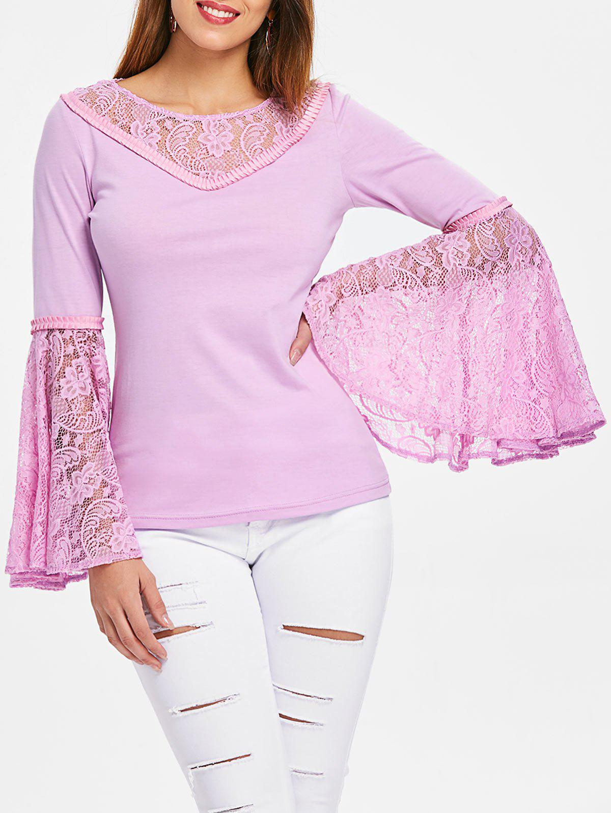 Hot Bell Sleeve Floral Lace T-shirt