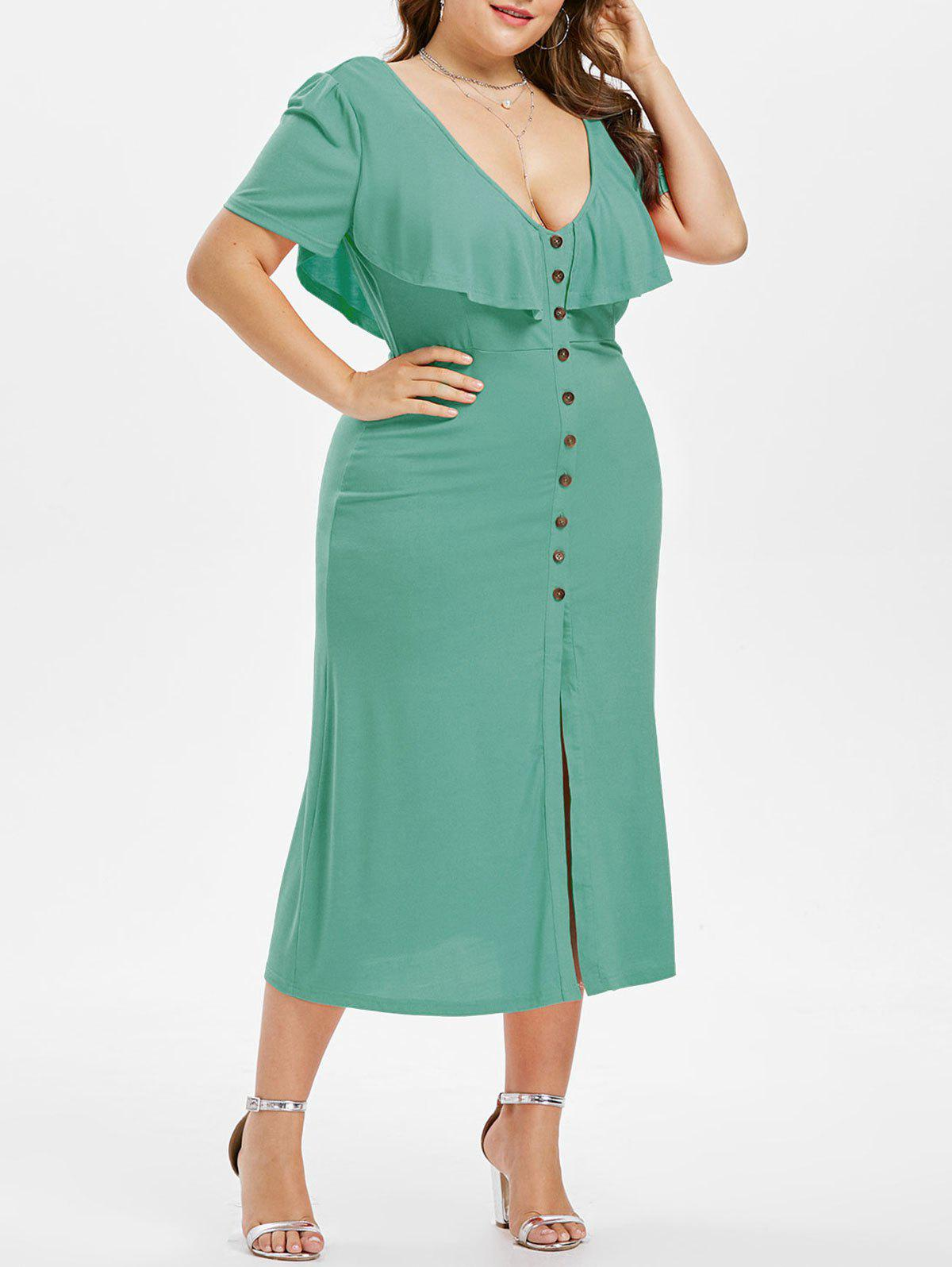 Discount Plus Size Plunging Ruffle Dress
