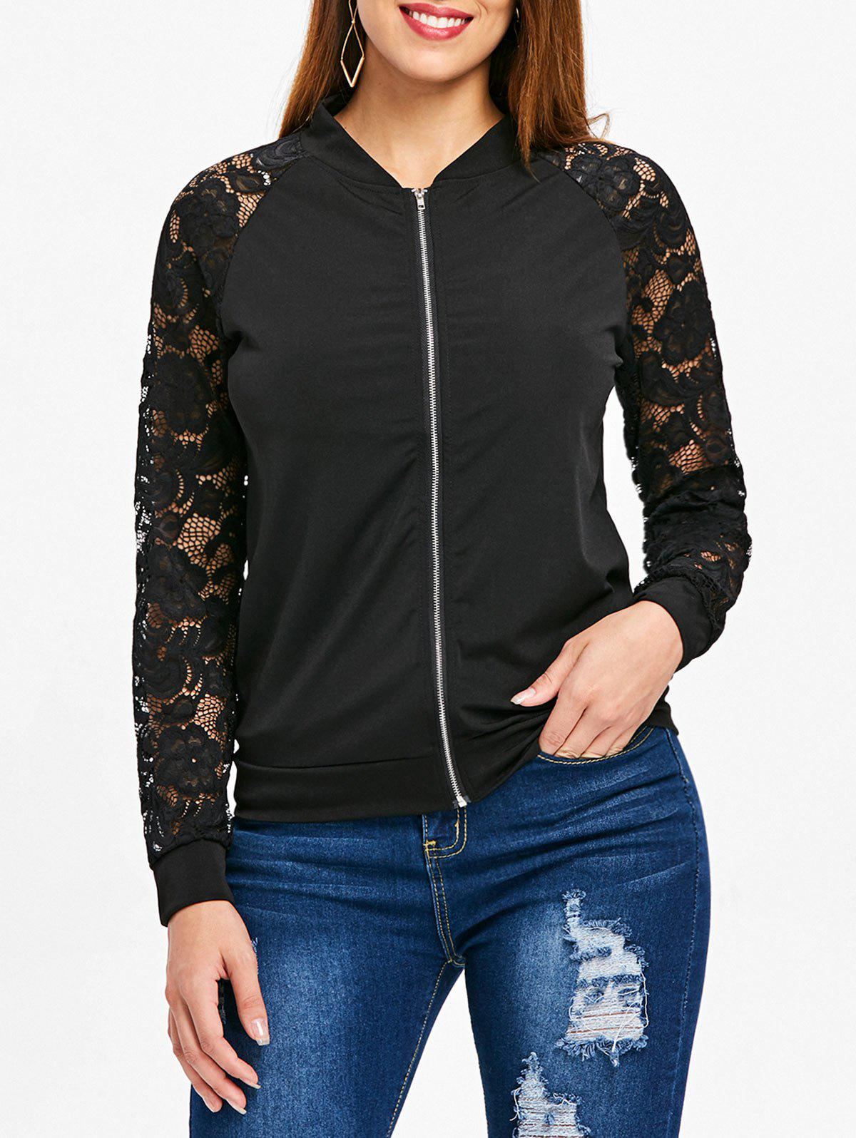 Latest Lace Sleeve Bomber Jacket