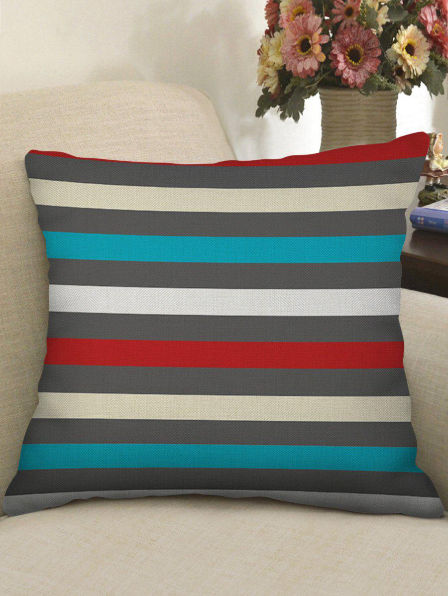 New Colorful Striped Print Decorative Linen Sofa Pillowcase