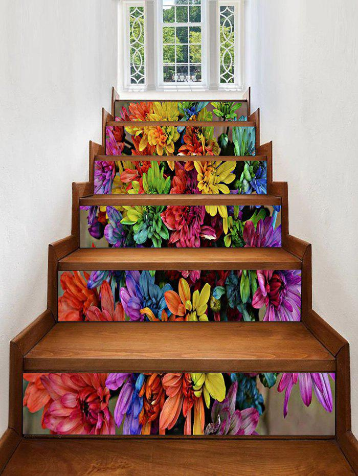 Outfits Colorful Flower Print Stair Stickers