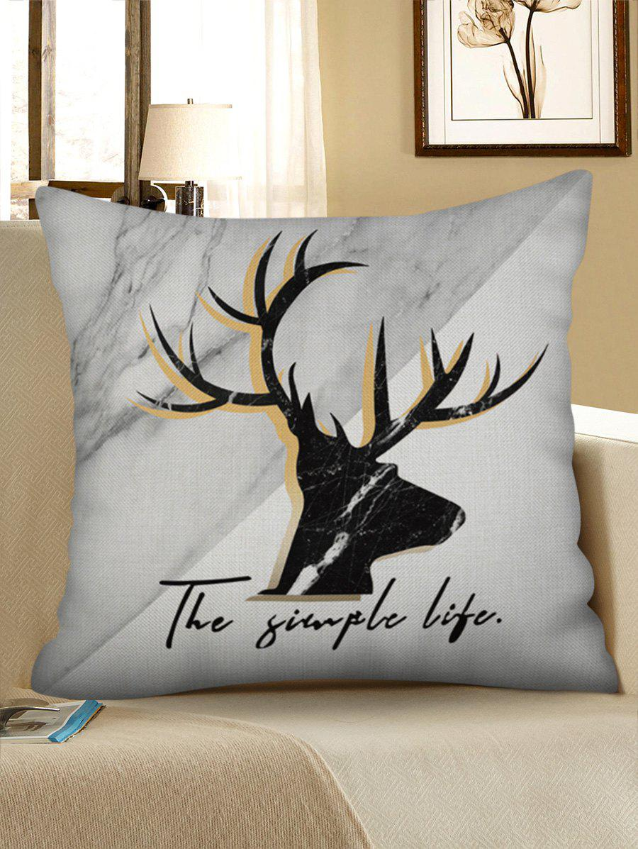 Outfits Deer Marble Print Decorative Linen Sofa Pillowcase
