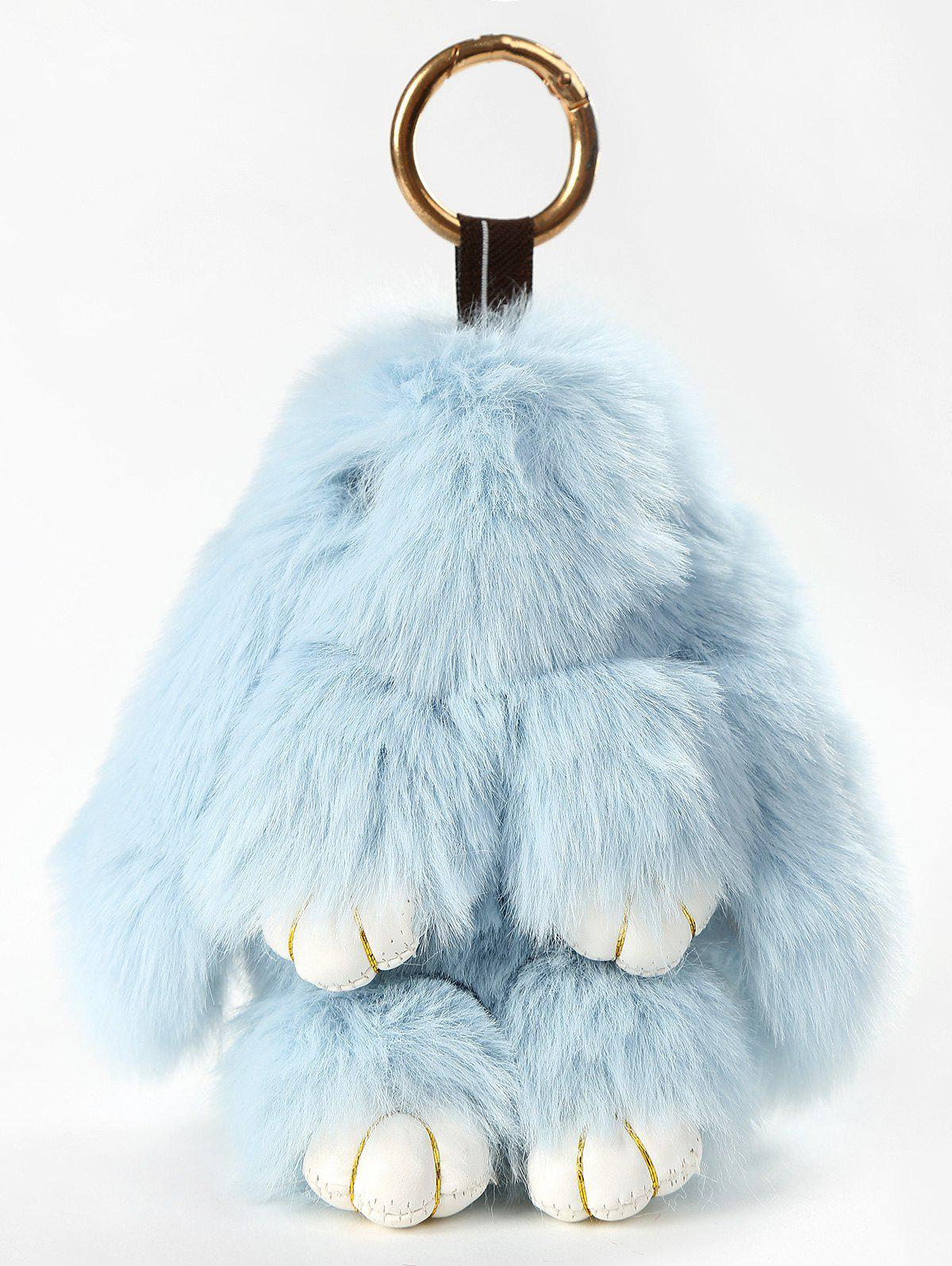 Stuffed Toy Cartoon Bunny with Key Chain, Light blue