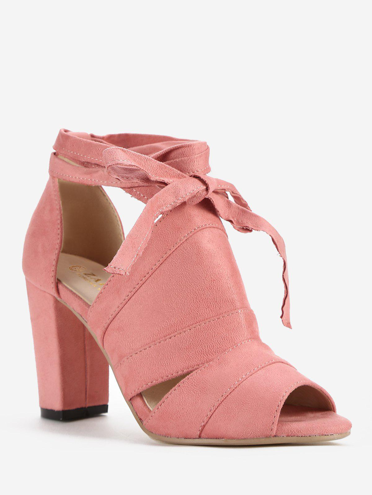 Block Heel Casual Lace Up Peep Toe Sandales Rose Léger  39