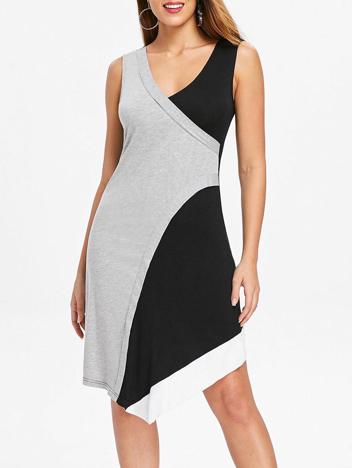 Trendy Asymmetric Color Block Overlap Dress
