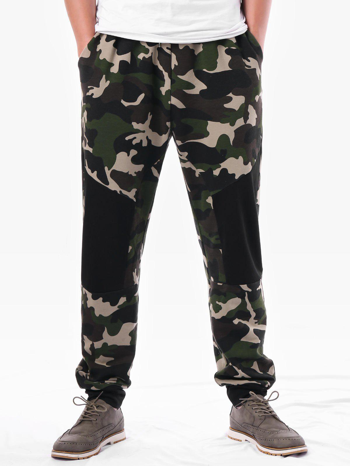 Hot Elastic Waist Camouflage Panel Casual Pants