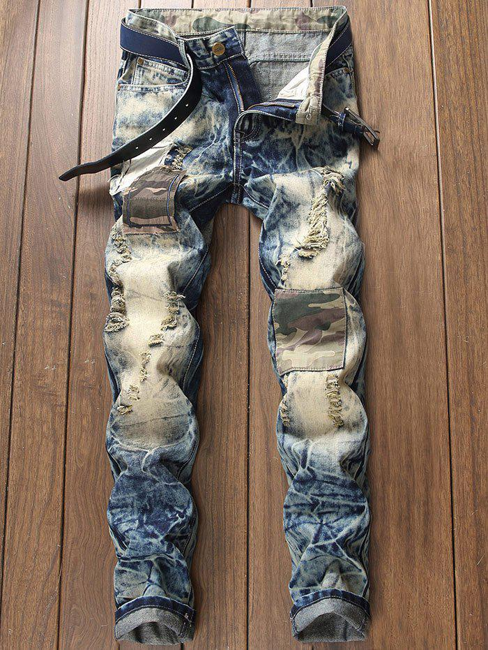 Hot Faded Ripped Camouflage Patch Design Jeans