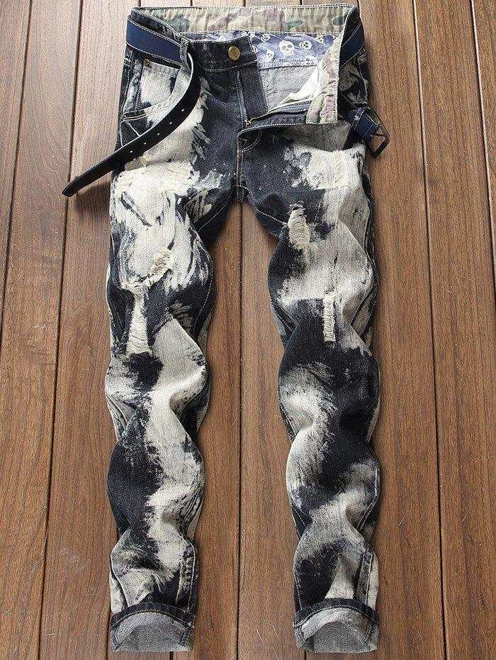 Hot Paint Destroyed Zip Fly Jeans