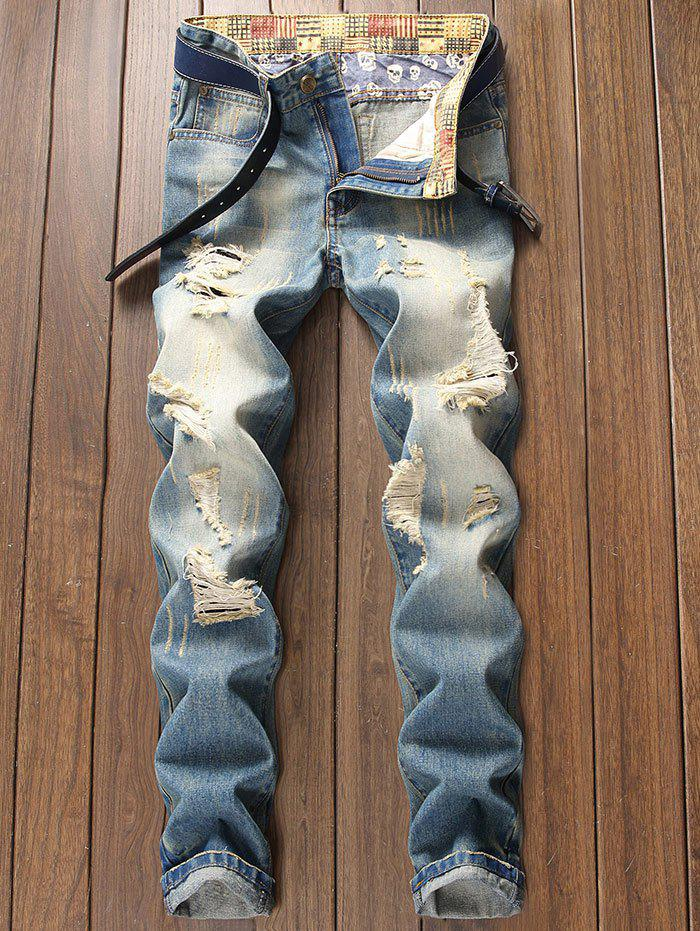 Shops Faded Distressed Zip Fly Tapered Jeans