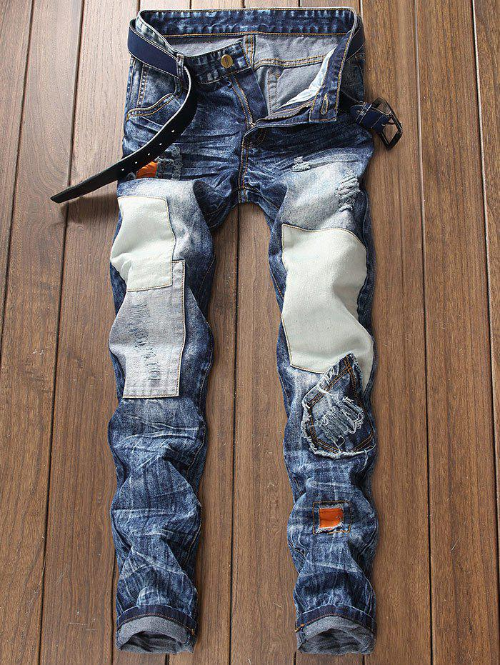 Cheap Destroyed Panel Design Zip Fly Jeans