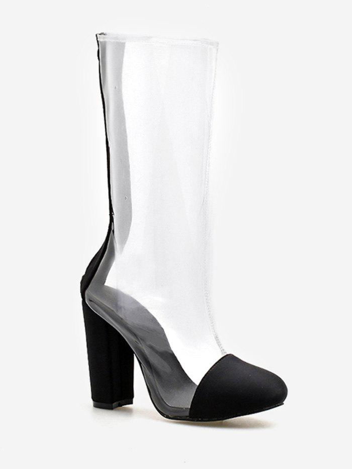 d03f094c4c1 2018 Chunky Heel Daily Pvc Transparent Mid Calf Boots In Black 39 ...