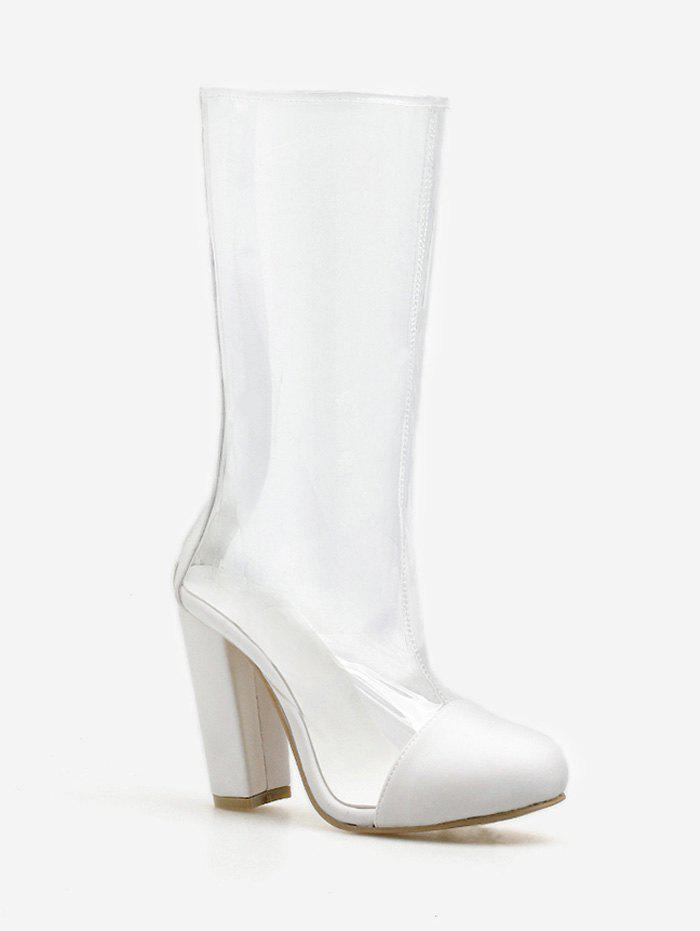 064df58ca9d 2019 Chunky Heel Daily Pvc Transparent Mid Calf Boots