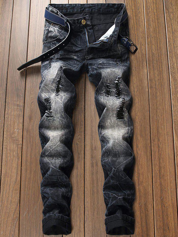 Sale Ripped Faded Wash Tapered Fit Jeans
