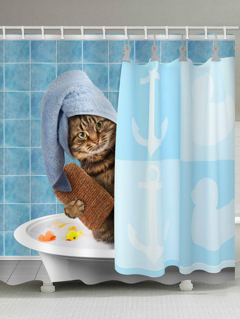 Buy Funny Cat Take Bathing Print Shower Curtain