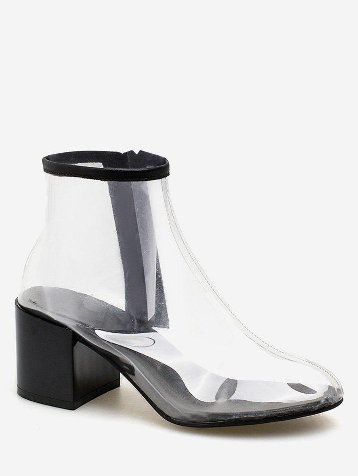 Fancy Mid Heel PVC Transparent Leisure Ankle Boots