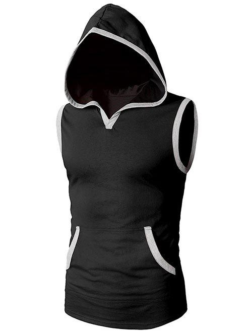 Latest Casual Kangaroo Pocket Hooded Tank Top