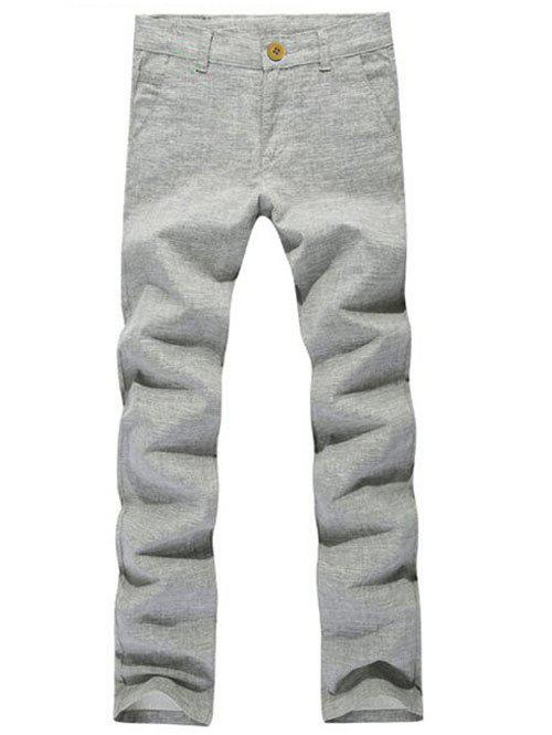 Buy Pockets Zipper Fly Textured Casual Pants