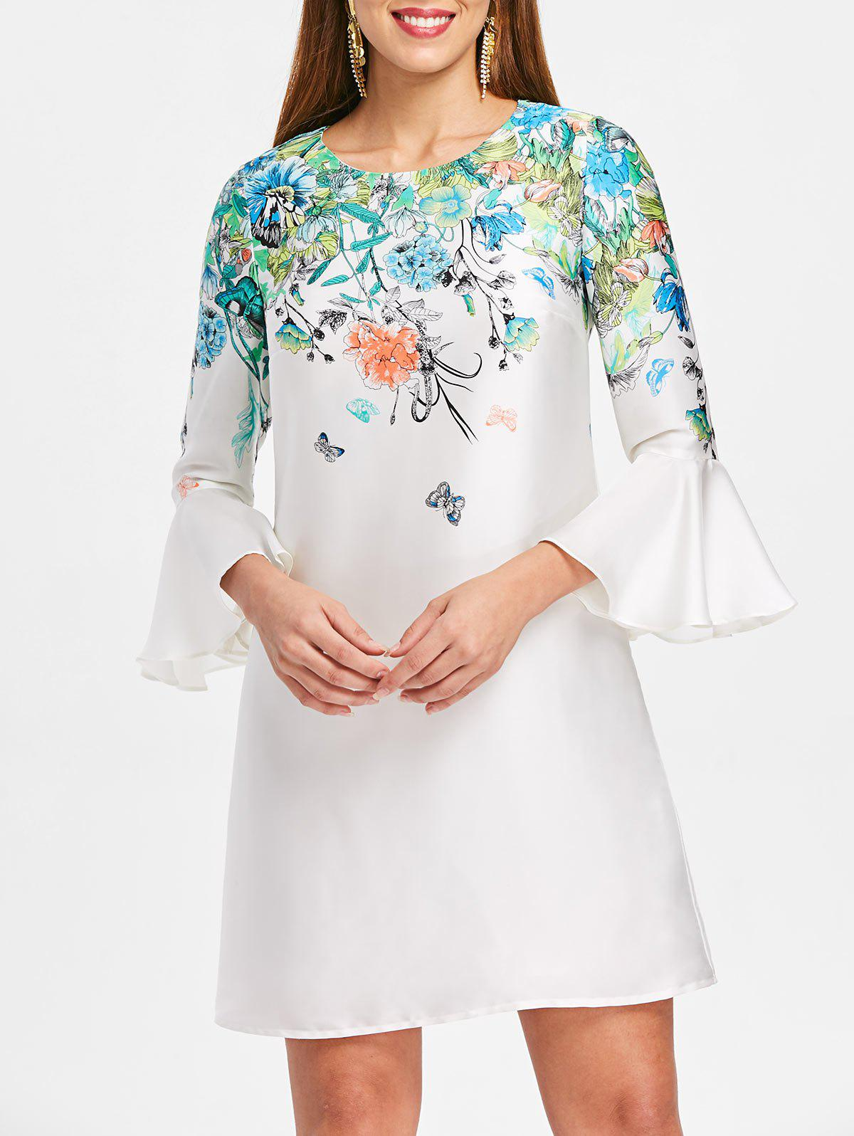 Hot Bell Sleeve Floral Mini Straight Dress