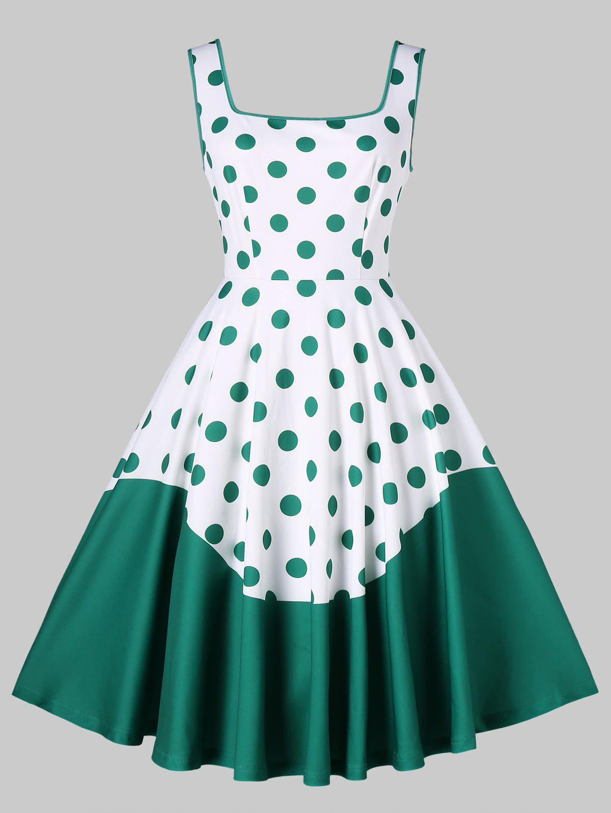 Best Polka Dot Print Fit and Flare Dress