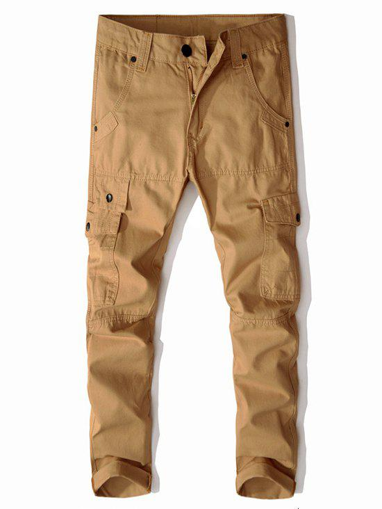 Online Multi-button Straight Cargo Pants