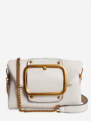 PU Leather Buckle Flap Crossbody Bag -