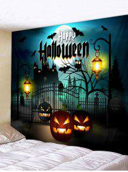 Halloween Night Pumpkin Lantern Terror Castle Printed Wall Tapestry -
