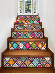 Mandala Plaid Print Decorative Stair Stickers -