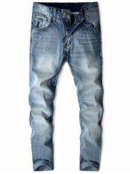 Zipper Fly Water Washing Fading Jeans -