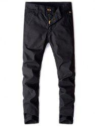 Pockets Design Solid Casual Straight Long Pants -