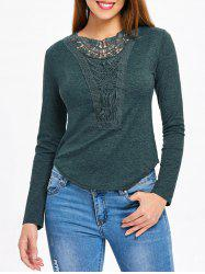 Long Sleeve Crochet Detail Top -