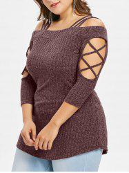 Plus Size Open Shoulder Knitted Slim T-shirt -