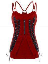 Spaghetti Strap Lace Up Fitted Tank Top -