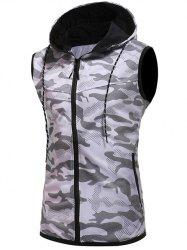 Sleeveless Zipper Placket Hoodie Vest -