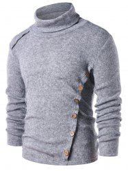 Button Embellished Long Sleeve T-shirt -