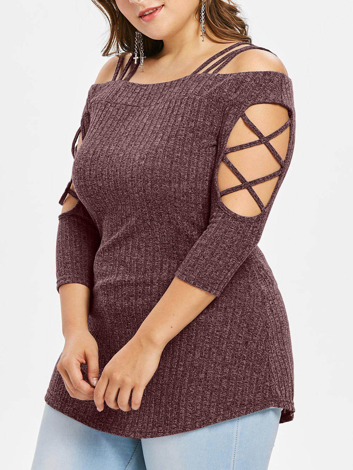 Discount Plus Size Open Shoulder Knitted Slim T-shirt