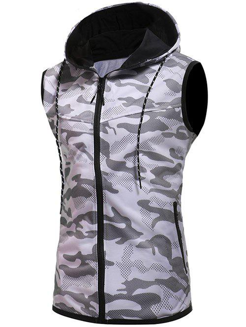 Store Sleeveless Zipper Placket Hoodie Vest