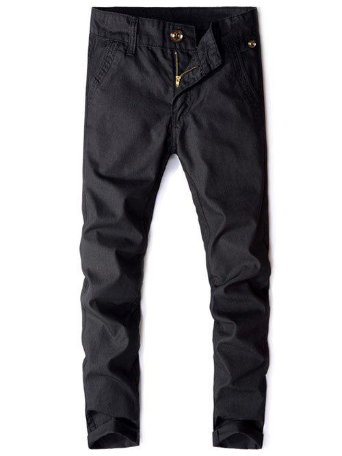 Outfits Pockets Design Solid Casual Straight Long Pants
