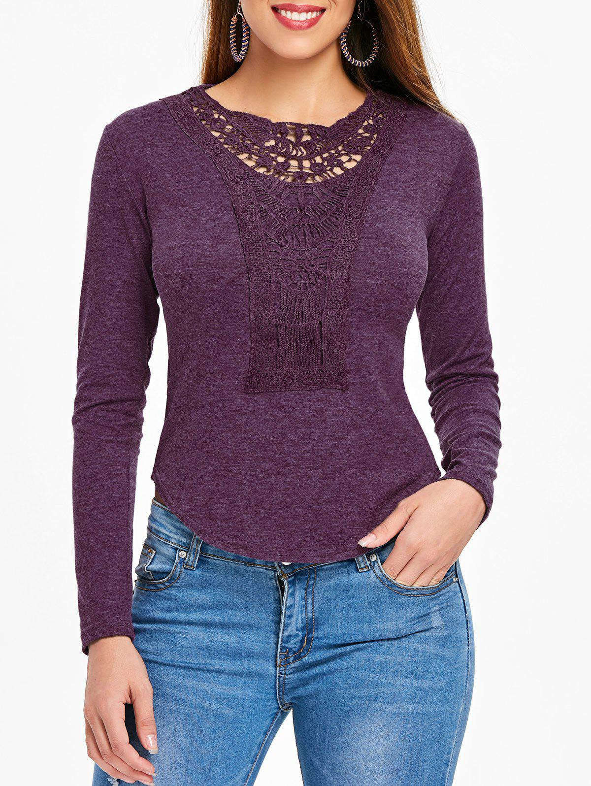 Outfit Long Sleeve Crochet Detail Top