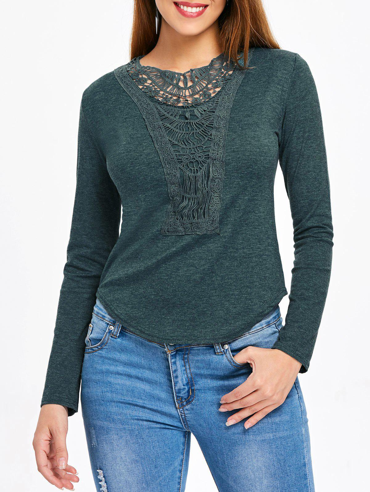 Affordable Long Sleeve Crochet Detail Top